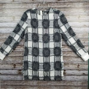 English Factory long sleeve fringe patchwork dress